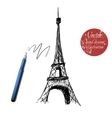 eiffel tower isolated on white background vector image vector image