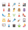 fashion flat icons set vector image vector image