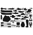 fishing equipment and tackle with fish silhouettes vector image