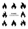 flame and fire black icons vector image