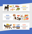flat pet shop horizontal banners vector image vector image