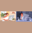 freelance girl working day and night at home busy vector image