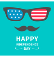 Glasses and mustaches Happy independence day vector image vector image
