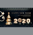 gold 2020 happy new year on a dark background vector image
