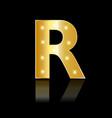 golden letter r shiny symbol vector image
