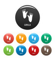gorilla step icons set color vector image