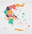 greece map with states and modern round shapes vector image