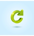 Green refresh symbol isolated on blue background vector image