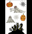 halloween pumpkins cartoon ghost and haunted castl vector image vector image