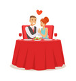 happy elegant couple enjoying romantic dinner date vector image