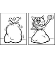let the cat out of the bag coloring page vector image vector image