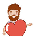 man with beard and heart in the chest vector image