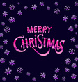 Merry Christmas pink glittering lettering design vector image