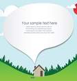 Paper cut home and landscape vector image vector image