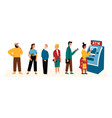 people waiting in line near atm machine flat vector image