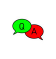 questions and answers speech bubble icon faq chat vector image