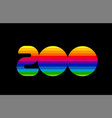 rainbow color colored colorful number 200 logo vector image vector image