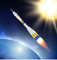 rocket in space flying jet rocket in cosmos vector image vector image