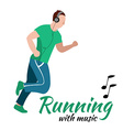 Running man with headphones vector image vector image
