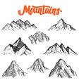 set hand drawn mountain design element vector image vector image