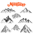 set of hand drawn mountain design element for vector image