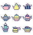 Set of hand drawn vintage tea pots