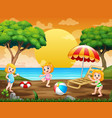 summer holiday with kids playing at seaside vector image vector image
