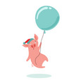 sweet scared little pig flying in a hot air vector image