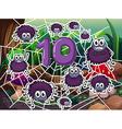 Ten spiders around number ten vector image vector image