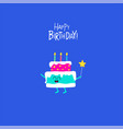 the cake for birthday greeting card vector image vector image