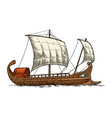 trireme floating on sea waves intage vector image
