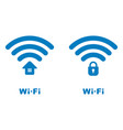 wi-fi icons with the house and lock image vector image