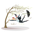 windy day and man isolated vector image vector image