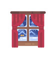 winter window with red curtains flat christmas vector image