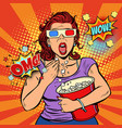 woman in 3d glasses watching a scary movie and vector image