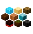 Isometric 3D cube textures set for computer vector image