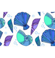 seamless texture with doodle seashells boho vector image
