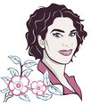 beauty woman face with flowers vector image