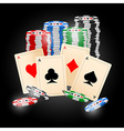 4 Aces on black background vector image