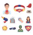 a fantastic superhero cartoon icons in set vector image