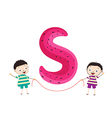 a Kid Leaning on a Letter S vector image vector image