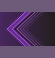 abstract purple light arrow direction on dark vector image vector image