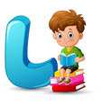alphabet l with a boy on stack