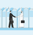 arab businessmen business handshake muslim vector image