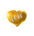 big golden heart on a white background vector image vector image
