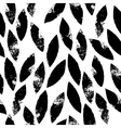 Black and white leaves grunge seamless pattern vector image vector image