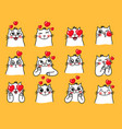 cat emoticons with heart vector image