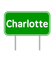 Charlotte green road sign vector image vector image