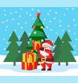 christmas holidays santa claus with xmas presents vector image vector image