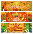 cinco de mayo mexican sombrero guitar cactus vector image vector image